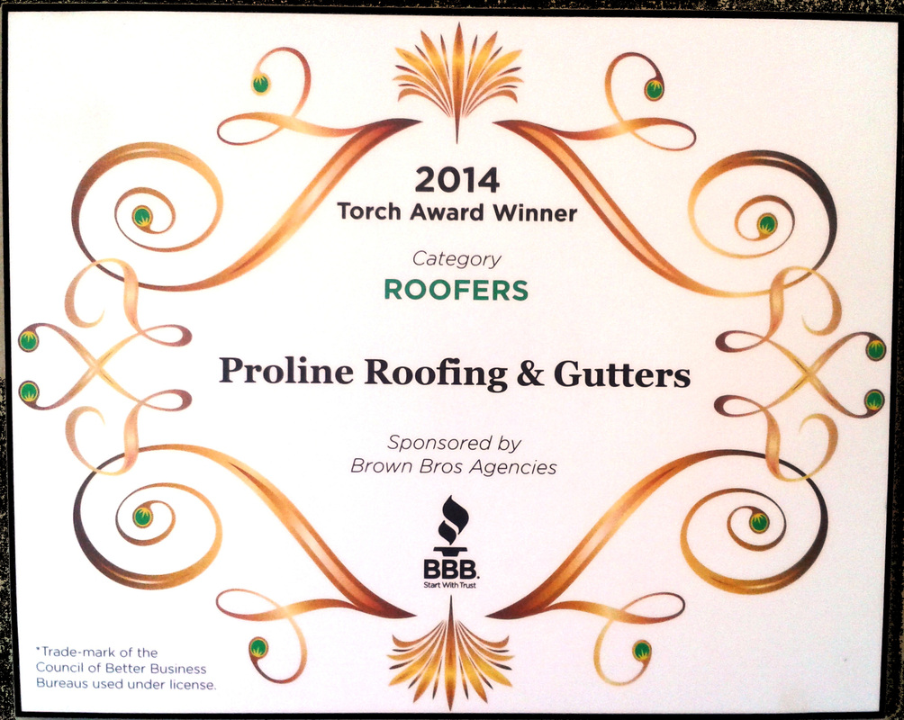Proline Roofing Gutters 2014 winner of BBB torch award victoria bc better business bureau