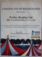 award roofing company victoria BBB torch